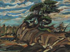 """""""Georgian Bay,"""" Arthur Lismer, oil on board, 9 x private collection. Group Of Seven Artists, Group Of Seven Paintings, Canadian Painters, Canadian Artists, Franklin Carmichael, Tom Thomson Paintings, Emily Carr, Canada, Fine Art Auctions"""