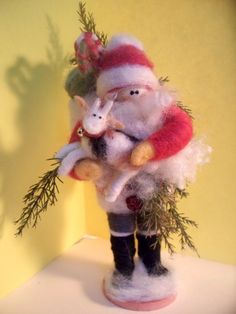 Santa Got My Goat 7 Wool Felted by WhimsicalWoolies on Etsy Yule Goat, Christmas Crafts, Christmas Ornaments, Needle Felting, Wool Felt, Goats, The Help, Santa, Holiday Decor