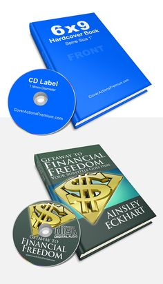 Audio book Mockup- 6x9 Hardcover Book and CD