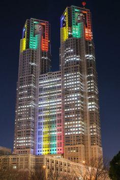東京都庁 オリンピック招致- 特別ライティング Special Lighting Tokyo Metropolitan Government 2020 Tokyo Olympics.