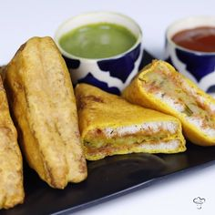 Bread Pakora is an Indian snack.