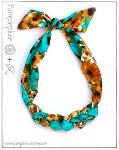 Turquoise Flower Scarf Statement Necklace by Pamplepluie (http://www.pamplepluie.etsy.com)