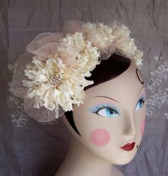 Amelia Silk Flower and Tulle headband in by silkandpearlbridal, $175.00