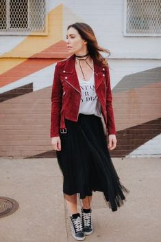 A suede leather jacket is a great match for the vintage tee and tulle skirt  trend 7c62682b9682