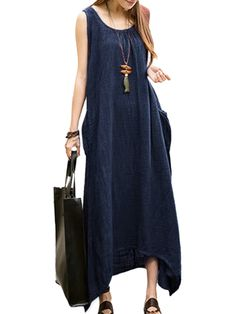 Vintage Casual Women Sleeveless High Low Cotton Linen Maxi Dress at Banggood