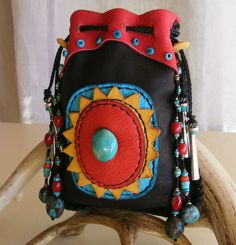 TURQUOISE TRAIL deerskin Medicine Bag / Spirit Pouch with loads of Turquoise, Coral, Jingle Cones