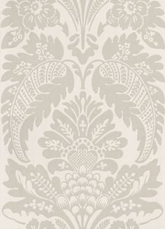 Wilton Drapery (0282WLDRAPE) - Little Greene Wallpapers - A classic large-scale pomegranate damask design typical of the mid 18th C.  Shown here in the Drapery colourway – soft  grey on cream. Please request sample for true colour match.