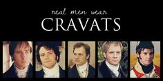 They are: (from left to right)  Mr Darcy by Matthew MacFadyen (Pride and Prejudice 2005)  Mr Darcy by Colin Firth (Pride and Prejudice 1996)  Colonel Brandon by David Morrisson (Sense and Sensibility 2008)  Captain Wentworth by Rupert Penry Jones (Persuation 2007)  Mr Wickham by Tom Riley (Lost in Austen 2008)