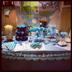 Candy bar for baby showers boy