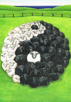 Postcard - love the yin and yang sheep! Yin Yang Art, Chinese Philosophy, Sheep Pig, Postcard Art, Shadow Art, The Donkey, Art For Art Sake, Pet Birds, Light In The Dark