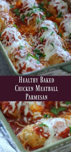 Healthy Baked Chicken Meatball Parmesan. Make-ahead ground chicken recipe to prepare on meal prep day.