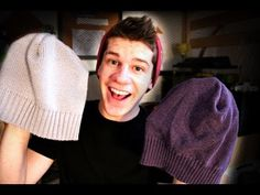 Slouch beanie made from thrift shop sweater. Instructions by Wyatt Foster. Light hearted.