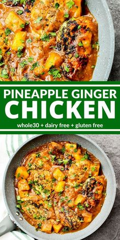 This Pineapple Ginger Chicken is tangy and. This Pineapple Ginger Chicken is tangy and sweet. No sugar. No junk. Just big bright flavors like pineapple medjool dates and fresh ginger. So good I bet youll lick your plate. Whole Foods, Whole Food Recipes, Diet Recipes, Cooking Recipes, Healthy Recipes, Paleo Food, Whole 30 Chicken Recipes, Paleo Meals, Seafood Recipes