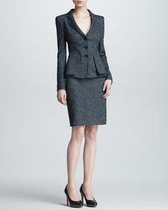 Herringbone Three-Button Jacket & Pencil Skirt by Armani Collezioni at Neiman Marcus.