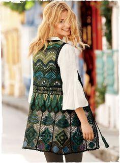Nice contemporary appliance of irish crochet Crochet Coat, Crochet Jacket, Crochet Cardigan, Crochet Clothes, Crochet Shirt, Freeform Crochet, Irish Crochet, Crochet Edgings, Crochet Motif