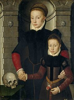 """Museo Nacional del Prado: Adriaen van Cronenburg Dama y niña 1567.  Part of a series of five paintings set in the same spot, all i think at the Prado. Found in the royal collection. Left column reads """"nascendo""""--born and right """"morimur"""" which surely means something to do w/death, but it was beyond the talents of Google translate."""