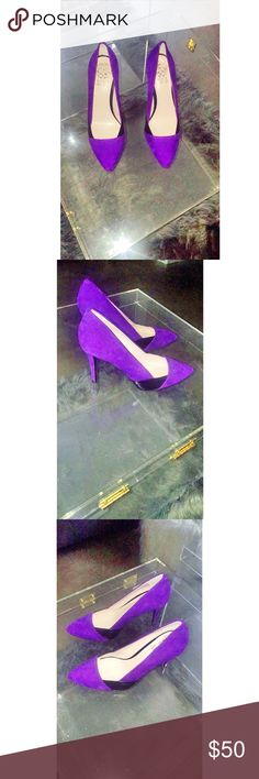 MS. PLENTY PURPLE! Vince Camuto Purple Suede and Black Leather Heels. (Never Worn in Great Condition) Misplaced the Box, but I'm Going to keep looking for the box! Vince Camuto Shoes Heels