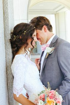 My perfect wedding!! Love the headband  Mandi Nelson Photography: addison & morgan love the sleeves.