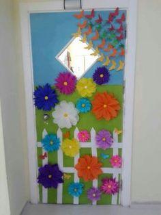 This Pin was discovered by Ive Class Door Decorations, Board Decoration, Diy And Crafts, Crafts For Kids, Paper Crafts, School Doors, Door Displays, Classroom Door, Spring Crafts