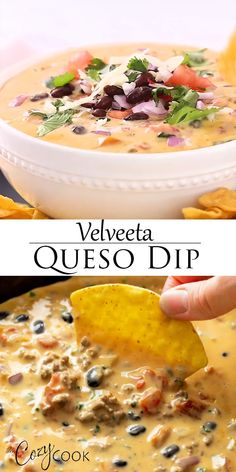 This velveeta queso dip has rotel tomatoes beef beer black beans and smooth velveeta cheese! it s easy to make in the crock pot or on the stove top appetizerrecipes diprecipes mexicanrecipes sandwich lasagne Velveeta Recipes, Cheese Dip Recipes, Cheese Dips, Dips With Velveeta Cheese, Dips With Cream Cheese, Yummy Appetizers, Appetizer Recipes, Dinner Recipes, Gourmet