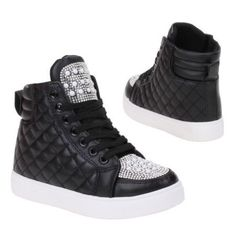 A trendy pair of trainers with comfort which features Hi-tops black trainers decorated with pearl and diamante studs Black lace at the front and a