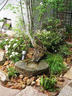 水鉢 と自然樹形に囲まれた癒しの庭