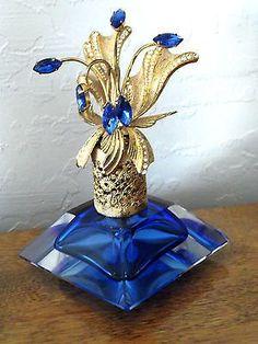 Antique Cobalt Blue Irice Perfume Bottle, Sapphire Rhinestone Floral Spray (Antique Perfume Bottle)