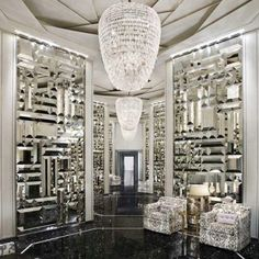 Crystal & Mirror..... Dressing closet in bedroom is what I would make it