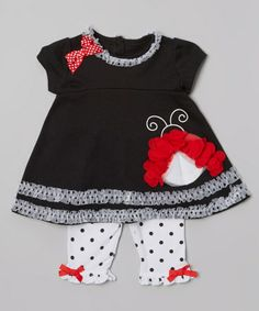 Another great find on #zulily! Black Ladybug Ruffle Top & Polka Dot Leggings - Infant #zulilyfinds