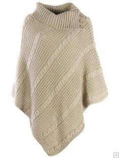 CASHMERE KNITTED PONCHO WITH COLLAR N BUTTON