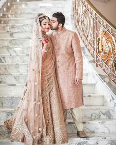 Real Grooms Who Picked Gorgeous Pastel Outfits for Their Wedding Indian Bridal Outfits, Indian Bridal Lehenga, Indian Bridal Wear, Bridal Dresses, Couple Wedding Dress, Indian Wedding Couple, Indian Bride And Groom, Bride Groom, Groom Outfit