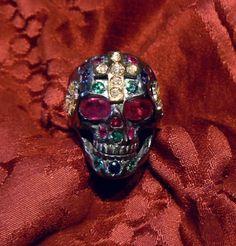 Dia de los ñatitas  Dia de los ñatitas ring in 925 silver and gold 18 kt with precious stones. Dogale Jewellery Venice Italia