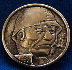 Hobo Nickel 1936 Soldier Indian Head Coin Hand Engraved By Ronald Proulx Antique Coins, Old Coins, Hobo Nickel, Indian Head, New Hobbies, Hand Engraving, Jewelry Collection, Knight, Carving