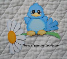 Bluebird on Flower, premade Paper piecing for scrapbooking, page border album