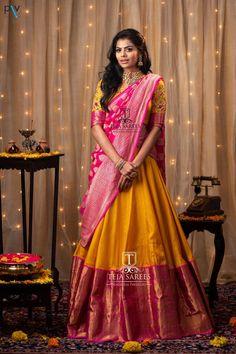 - Source by shreyanshin - Lehenga Saree Design, Half Saree Lehenga, Lehnga Dress, Lehenga Designs, Lehenga Gown, Indian Lehenga, Wedding Saree Blouse Designs, Half Saree Designs, Pattu Saree Blouse Designs