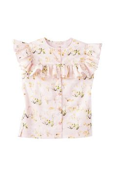 Firefly Floral Top ---- Generous ruffles lend lush volume to this bloom-covered blouse made in crisp cotton sateen. Wear it with leather minis or tuck it into the matching pants for that full-on floral effect.