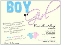 DIY Gender Reveal Party Invites. All done on Microsoft Powerpoint 2010. :)  Fonts were free and came from another site.  Miracles and Blessings.