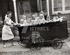 Children;Humour;Funny;Prams;Unusual;Nurse;Nursery;WW2;World.War.Two;1940s