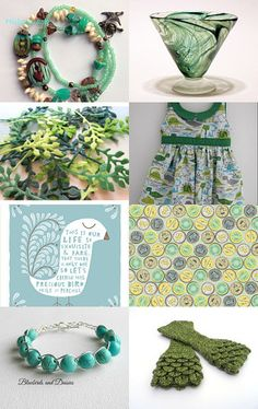Green, green and more green! by Jennifer McRae on Etsy--Pinned with TreasuryPin.com