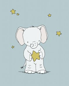 Elephant Nursery Print    This adorable baby elephant caught a wish, now what shall he wish for?....    *Be sure to select your size in the