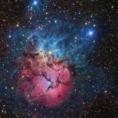"The Trifid Nebula includes three types of nebula. The blue area is a reflection nebula, like the Witch Head. The lower red area is a stellar nursery (like IC 1639) where the hydrogen gas is energized by hot young stars. The dark areas that give the nebula its triffid-like look are dark nebulae like the Flying Emu. (photo: R. Jay Gabany) ©Mona Evans, ""Nebulae"" http://www.bellaonline.com/articles/art43407.asp"