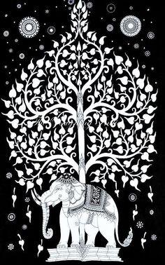 #treeoflife #tapestry #handmade #screenprint #indian #elephant #luckycharm #walldecor