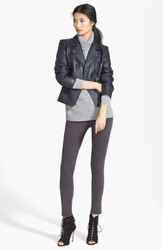 Truth & Pride Leather Jacket, Joie Turtleneck & MARC BY MARC JACOBS Crop Skinny Jeans  available at #Nordstrom