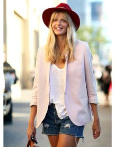 Street Style Trend Report: Spring 2012 BLUSHING BEAUTIES Taking cues from '70s rock girlfriends, Julia Stegner goes boho in a red top hat and blush jacket.