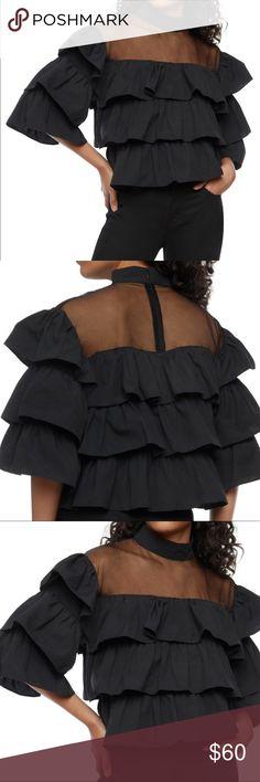 Black Prairie Ruffle (XL) Black sheer mesh ruffle top with back zipper closure. Three quarter sleeve effect. Great blouse to wear with glossy vinyl heels and a pair of rugged bermudas. #resort #black #ruffle haus Tops Blouses