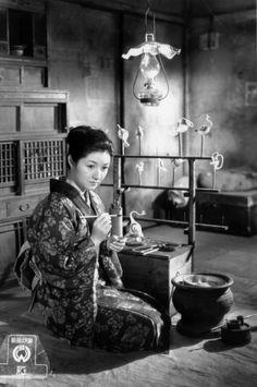 """Takamine Hideko - still from """"Gan / 雁 / Wild geese"""" movie, 1953"""