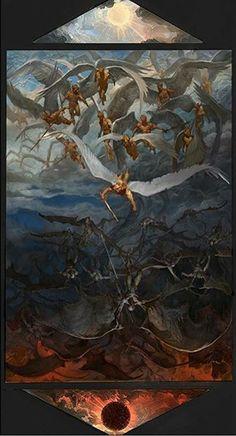 Céu e Inferno Vance Kovacs Satanic Art, Angel Warrior, Biblical Art, Heaven And Hell, Arte Horror, Angels And Demons, Classical Art, Angel Art, Fantasy