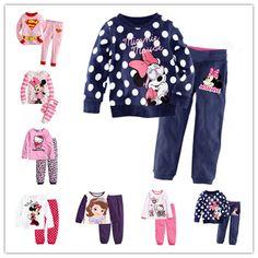2016 new hot Children Clothing Sets Cotton Baby Girls Pajamas Suit Kids pajamas children love suit