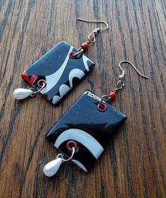 Upcycled  Soda Can Earrings / Rectangle / Coke Zero / recycled