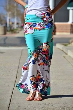 Floral Mint Maxi Skirt Perfect Street Style